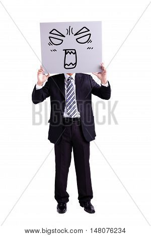 businessman holding angry expression billboard with isolated white background