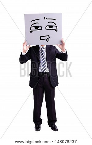businessman holding confused expression billboard with isolated white background