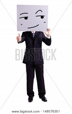 businessman holding look somewhere and smile expression billboard and thumb up with isolated white background
