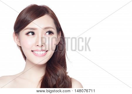 Beauty woman with charming smile with healthy skin teeth and hair isolated on white background asian beauty with copy space