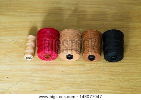 Spools Of Many Colorful Silk Thread For Craftsman Work