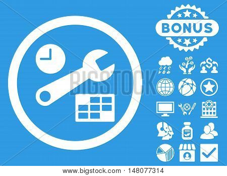 Date and Time Setup icon with bonus images. Vector illustration style is flat iconic symbols, white color, blue background.