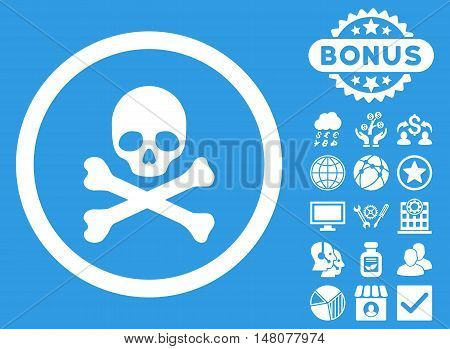 Death icon with bonus images. Vector illustration style is flat iconic symbols, white color, blue background.