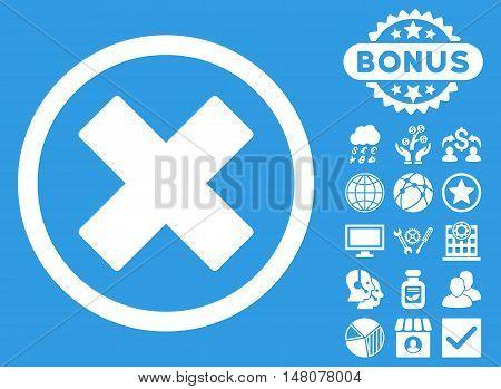 Delete X-Cross icon with bonus symbols. Vector illustration style is flat iconic symbols, white color, blue background.