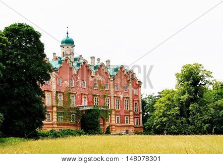 Bruck an der Leitha, Lower Austria - May 22, 2016  Chateau Prugg in Harrachpark in Bruck an der Leitha