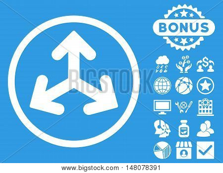 Direction Variants icon with bonus elements. Vector illustration style is flat iconic symbols, white color, blue background.