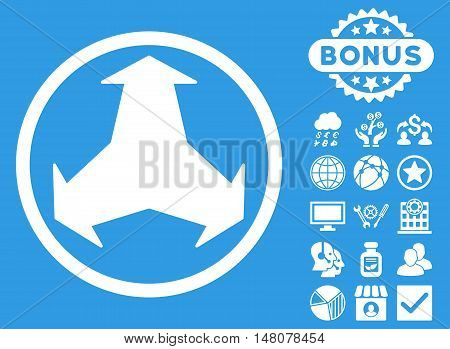 Directions icon with bonus symbols. Vector illustration style is flat iconic symbols, white color, blue background.