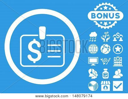 Dollar Badge icon with bonus images. Vector illustration style is flat iconic symbols, white color, blue background.