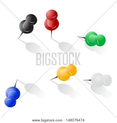 Pin button different angle inclination vector illustration