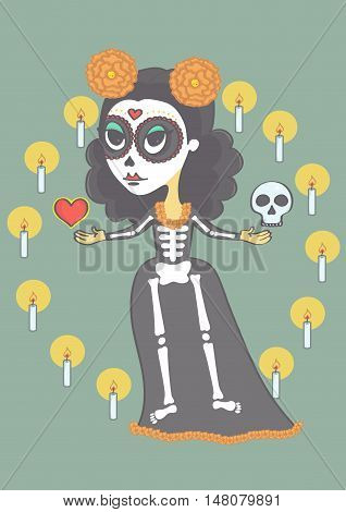 Sugar skull girl for day of the dead or halloween. Vector cartoon of mexican woman representing death.