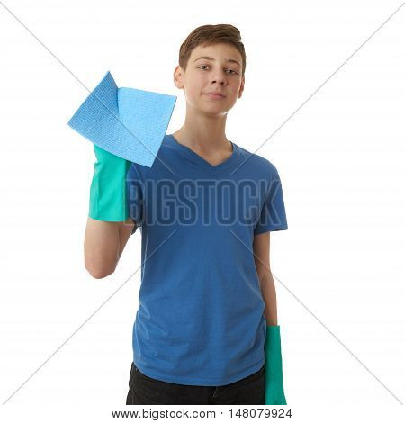 Cute teenager boy in blue T-shirt and green rubber gloves with rag over white isolated background, half body, cleaning concept