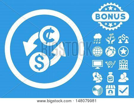 Dollar Cent Exchange icon with bonus elements. Vector illustration style is flat iconic symbols white color blue background.