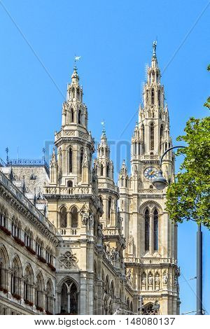 Beautiful View Of Famous Wiener Rathaus, Vienna, Austria