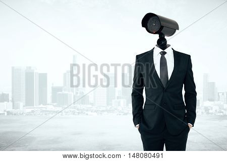 Business security management concept. Businessman with CCTV camera instead of head on abstract city background with copyspace