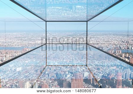 Abstract transparent glass room with city view. 3D Rendering