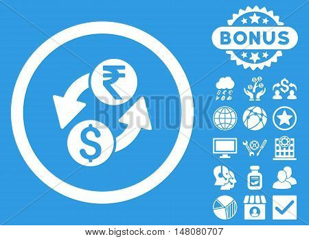 Dollar Rupee Exchange icon with bonus pictogram. Vector illustration style is flat iconic symbols white color blue background.