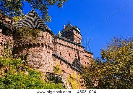 Castle Haut-Koenigsbourg  - impressive medieval fortress in France