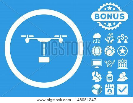 Drone Shipment icon with bonus pictogram. Vector illustration style is flat iconic symbols white color blue background.