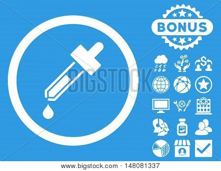Dropper icon with bonus images. Vector illustration style is flat iconic symbols white color blue background.