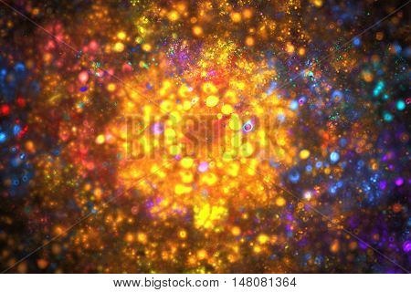 Bright galaxy. Abstract fiery sparks on black background. Fantasy fractal design in yellow orange red and blue colors. Digital art. 3D rendering.