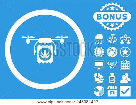 Drugs Drone Delivery icon with bonus symbols. Vector illustration style is flat iconic symbols white color blue background.