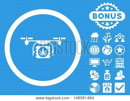 Drugs Drone Shipment icon with bonus symbols. Vector illustration style is flat iconic symbols white color blue background.