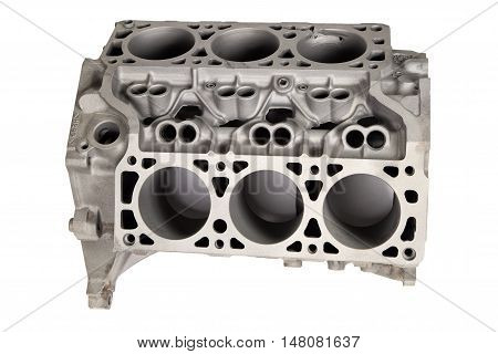 Detail of internal combustion engine after powder coating on white background
