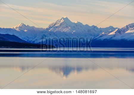 Sunset Reflection At Mount Cook In New Zealand