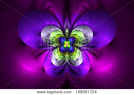 Abstract exotic flower on black background. Symmetrical pattern in bright pink purple grey and green colors. Fantasy fractal design for posters wallpapers or t-shirts. Digital art. 3D rendering.