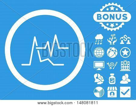 ECG icon with bonus pictogram. Vector illustration style is flat iconic symbols white color blue background.