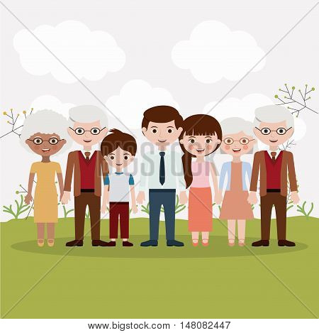 Mother father son and grandparents icons.  Family generation and relationship theme. Colorful design. Vector illustration