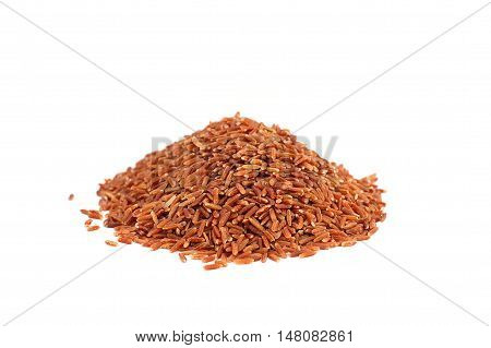 Grain red jasmine rice or Thai name is Hom Mali rice on white background.