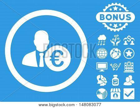 Euro Banker icon with bonus design elements. Vector illustration style is flat iconic symbols white color blue background.