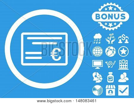 Euro Cheque icon with bonus pictogram. Vector illustration style is flat iconic symbols white color blue background.