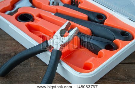 Tools set on old wooden Board with copy space.