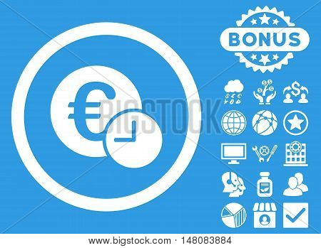 Euro Credit icon with bonus design elements. Vector illustration style is flat iconic symbols white color blue background.