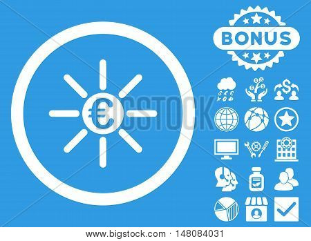 Euro Distribution icon with bonus elements. Vector illustration style is flat iconic symbols white color blue background.