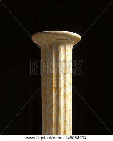 Column pedestal against black background. Clipping path