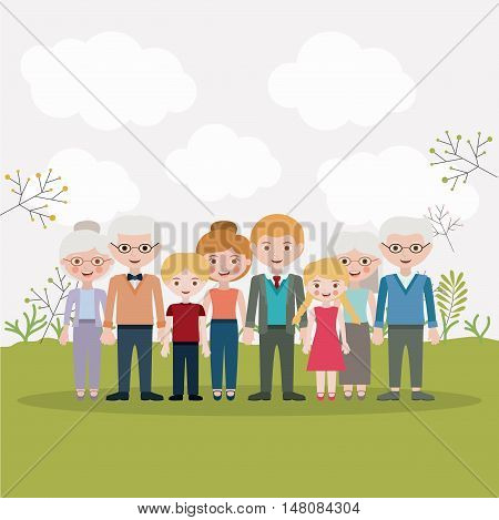 Mother father daughter son and grandparents icons. Family generation and relationship theme. Colorful design. Vector illustration