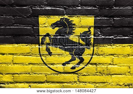 Flag Of Stuttgart With Coat Of Arms, Germany, Painted On Brick Wall