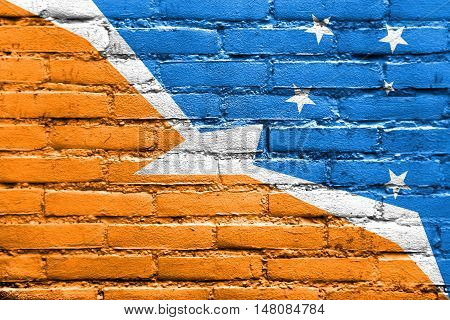 Flag Of Tierra Del Fuego Province, Argentina, Painted On Brick Wall