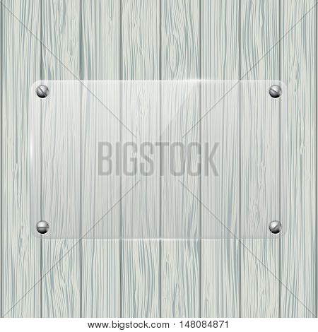 Transparent plate on Wood texture. Vector illustration