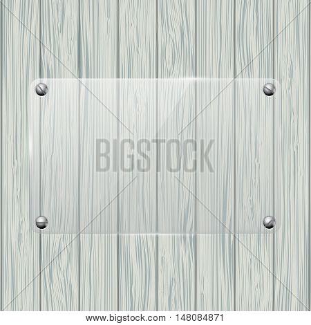 Transparent plate on Wood texture. Vector illustration