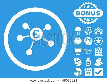 Euro Payments icon with bonus symbols. Vector illustration style is flat iconic symbols white color blue background.