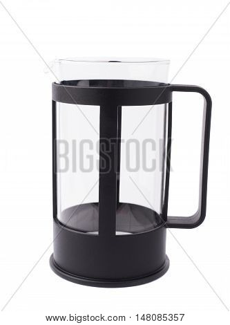French empty press pot coffee maker composition isolated over the white background