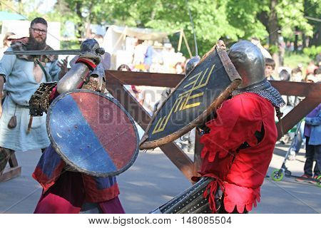 Two Medieval Knights During The Battle Close Up