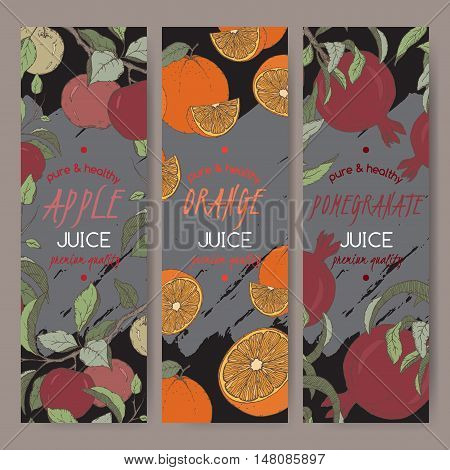 Set of three color vector templates for apple, orange and pomegranate juice. Based on had drawn sketch. Great for packaging and advertising design.