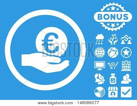 Euro Salary Hand icon with bonus symbols. Vector illustration style is flat iconic symbols white color blue background.