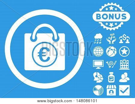 Euro Shopping Bag icon with bonus elements. Vector illustration style is flat iconic symbols white color blue background.