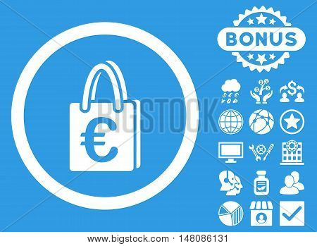 Euro Shopping Bag icon with bonus pictures. Vector illustration style is flat iconic symbols white color blue background.